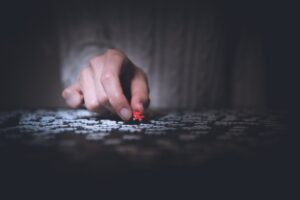 Person holding red jigsaw puzzle