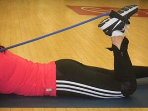 Hamstring curls with band